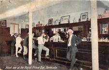 MEET ME AT THE ROYAL PRINCE BAR BERMUDA ALCOHOL WHITE HORSE SIGN POSTCARD c 1910