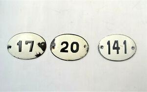 Old Vintage Antique Enamel Porcelain Sign House Number 17,20,141