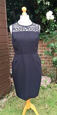 Whistles Black Shift Dress with Lace Panels - Stretchy - UK 16 - Gorgeous & VGC