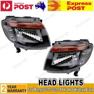 For Ford Ranger PX 11~15 XL XLS Wildtrak A Pair of Head Light LH+RH Lamp Black