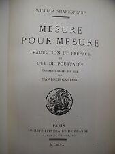 Mesure Pour Mesure by William Shakespeare Signed by Guy de Portales 1921 Ltd Ed
