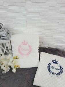 NEU! Baby Decke mit Name Babydecke Geschenk Taufe Mädchen Jungen Rosa  Gold Grau