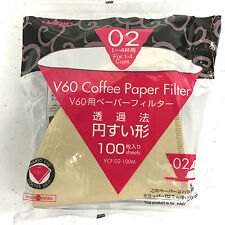 Rare Original Hario V60 Misarashi Coffee Paper Filter Size 02, 100 Count Natural