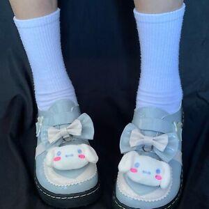 Lolita Girls Cinnamoroll Cosplay JK Uniform Shoe Blue Princess Round Toe Shoes