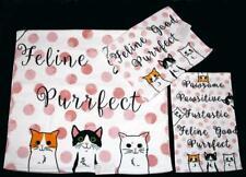 3-Pc Kassafina Funny Cats Pink Polka Dots Script Bath Hand Fingertip Towels NWT