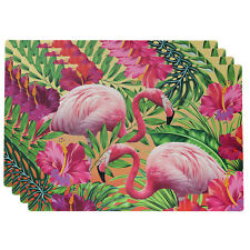 Set of 4 30x45cm Flamingo Tropical Design Rectangle Placemats Table Mats Dining