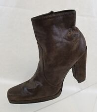 Nine & Company Ankle Boots Bounties Square Toe Zip Womens Brown Leather Sz 6.5M