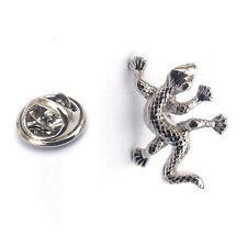 Silver Gecko Lapel Pin Badge Lizard Reptile Animal Wild Scale Lizards Geckos New