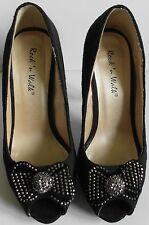 Ladies Black Suede Diamante Court Shoes Size 4 (27)