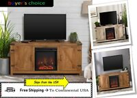 TV Stand Modern Farmhouse Barn Door Cabinet Electric Fireplace Home Furniture