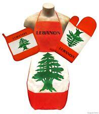 Lebanon Flag Kitchen & BBQ Set w/ Apron Oven Mitt Pot Holder Lebanese *FREE S/H*