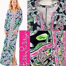 Lilly Pulitzer UPF 50 Faye Maxi Dress Sway This Way Engineered Navy LG XL