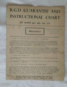 RGD  Guarantee and Instruction Chart - Gramophone Models 455, 395, 255 175