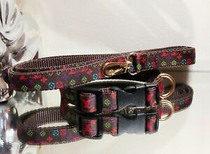 LaGucci Gold hardware Collar Leash  SET Dogs S Neck 9-11in Ret.$68 🐩💙💚