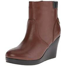 Lacoste 2431 Womens Brown Leather Wedge Boots Shoes 9 Medium (B,M) BHFO