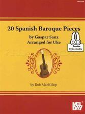 20 Spanish Baroque Pieces Gasper Sanz Ukulele TAB Book/Audio SAME DAY DISPATCH