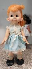 """1971 Horsman Tessie Talks Dummy Ventriloquist Doll 17"""" Red Hair Girl Freckles"""