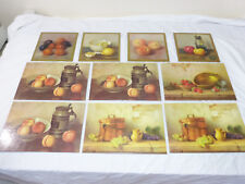 10 VINTAGE FELT BACK PLACEMATS FRUIT & KITCHEN SCENES DAC NY, 1971 LITHO IN USA