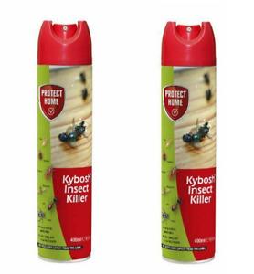 2 x Kybosh Flying  Insect killer Kills Flies Mosquito Fleas Bed Bugs 400ml Spray
