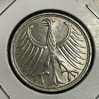 1964-F  GERMANY SILVER 5 MARKS  HIGH GRADE COIN