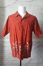 Mens Route 66 Orane-Red  Short Sleeve Shirt Tropical Palms black pattern size L