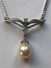 Magnifique COLLIER en ARGENT MASSIF avec perle et strass brillants vintage TBE