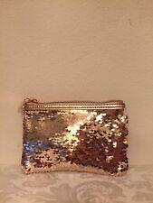 Macy's MAKEUP BAG ROSE GOLD METALLIC COSMETIC BAG MINI TRAVEL BAG
