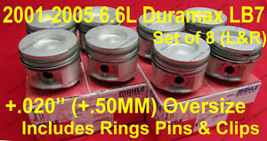 6.6L Duramax LB7 Pistons 2001-2005 +.020 Size Right&Left side w/ rings Set 8