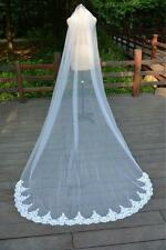 New 1T ivory/white Wedding Bridal Veil Lace edge Cathedral length with comb