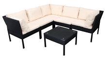 Loungeset Loungegarnitur Gartengarnitur Ecklounge Lounge CATANIA Rattan schwarz
