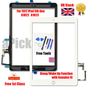 For 2017 iPad 5th Gen A1822 A1823 Touch Screen Digitizer Replacement + IC White