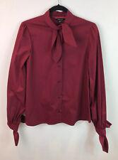 New TARA JARMON Size 38 (10) Pussy Bow Blouse Shirt Red Designer