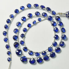 Gem Kyanite Faceted Heart Briolette Beads 16.5 inch strand