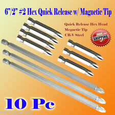 "Pack 10 6""/2"" Phillips #2 Screw Driver Bit Quick Release Hex Shank Magnetic Tip"