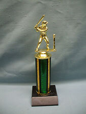 female t-ball Baseball trophy green column black wood base