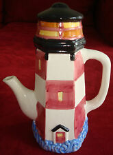 Ceramic lighthouse teapot, handpainted, Great condition