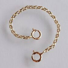 STRONG 9ct Yellow Gold Necklace Necklet Extender Safety Chain with 2 Bolt Clasps