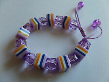 PURPLE SWEETIE STRIPED ALL SORT BEAD CORD BRACELET new gift pouch