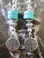 Wicca Silver & Turquoise Disks Tree of  Life Handcrafted Artisan Earrings-Pagan