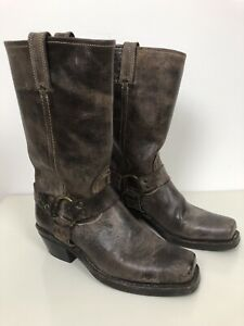 FRYE Womens Brown Leather Square Toe Harness 12R Motorcycle Boots Size 8.5 US