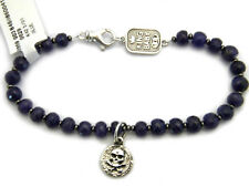 King Baby Studio Blue Sapphire Beaded Bracelet with Small Silver Skull Coin NWT