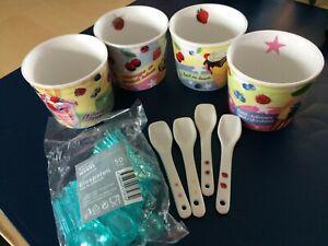 Crofton Eisbecher Set Porzellan mit 4 Porzellanlöffeln und 50 Plastiklöffeln
