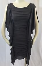 NWT $480 XS HAUTE HIPPIE Silk Chiffon Shirred Layered Dress Lead Gray Draped