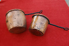 Belle Casserole Poêlon, pot à colle  en Cuivre ancien manche en fer