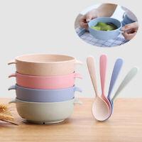 JP_ 2Pcs Wheat Straw Baby Infant Kids Feeding Food Dishes Bowl Spoon Tableware