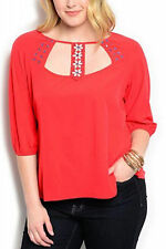 Womens Top Solid Red Embellished Beaded Scoop Neck ¾ Sleeves PLUS SIZE 1X WAPI
