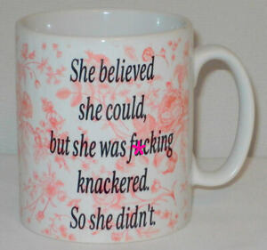 She Believed She Could But Didn't Mug Can Personalise Funny Rude Swear Gift