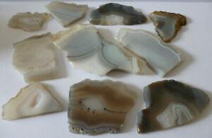Lot of 10 Assorted Grey Colours Polished Specimen Agate Geode Slices ~ No.1