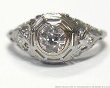 Antique Fine 0.38ct Old Euro Diamond 18k Ring White Gold Filigree Art Deco 5.75