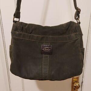 Fossil Crossbody Bag Purse Canvas Denim Green Messenger Bag Outdoors Saddlebag